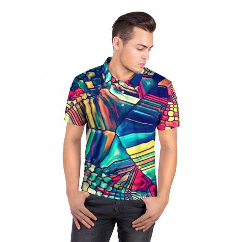 Мужская рубашка поло 3D  Фото 05, Block mosaic