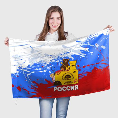 Флаг 3D  Фото 01, Россия. Медведь. Балалайка