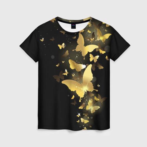 Женская футболка 3D 'Золотые бабочки'