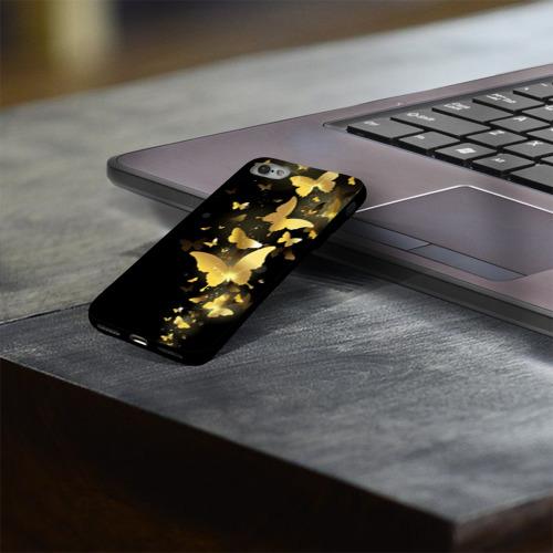 Чехол для Apple iPhone 7/8 soft-touch NEW Золотые бабочки Фото 01