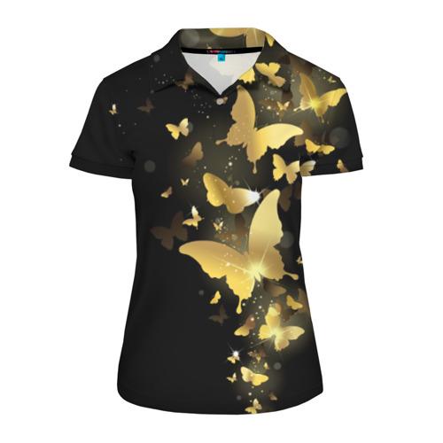 Женская рубашка поло 3D Золотые бабочки