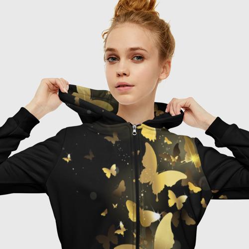 Женская толстовка 3D на молнии Золотые бабочки Фото 01