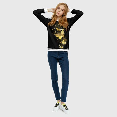 Женский свитшот 3D Золотые бабочки