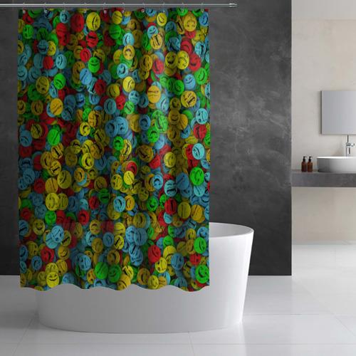 Штора 3D для ванной  Фото 02, Злобные смайлы