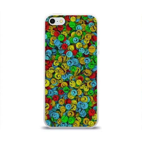 Чехол для Apple iPhone 5/5S силиконовый глянцевый  Фото 01, Злобные смайлы