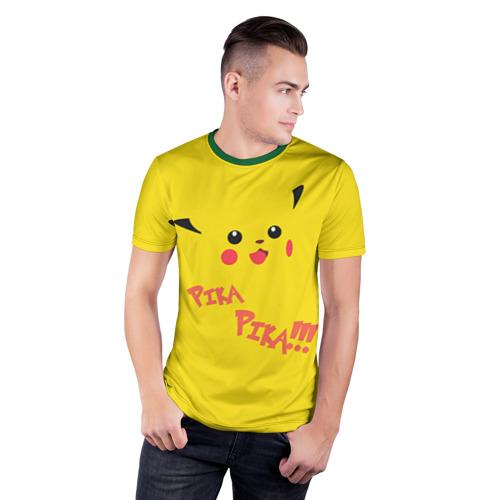 Мужская футболка 3D спортивная Мордашка Пикачу Фото 01
