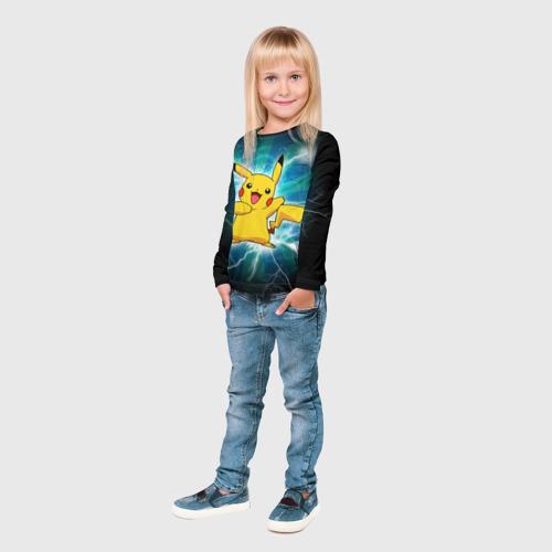 Детский лонгслив 3D  Фото 04, Искрящийся Пикачу