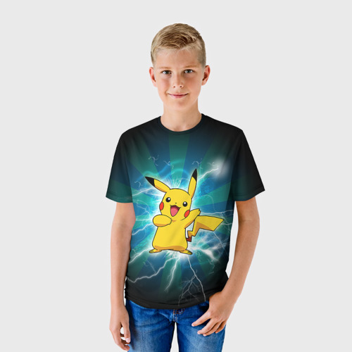 Детская футболка 3D  Фото 01, Искрящийся Пикачу