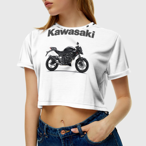 Женская футболка 3D укороченная  Фото 01, Kawasaky