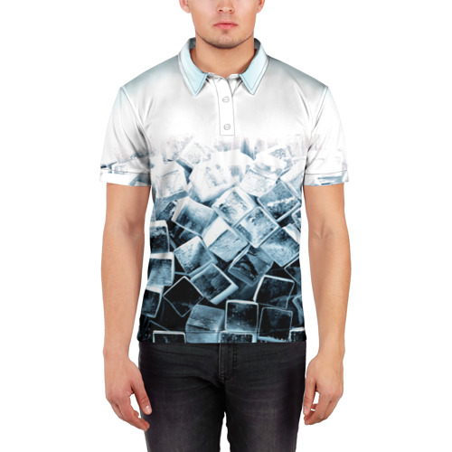 Мужская рубашка поло 3D Кубики льда Фото 01