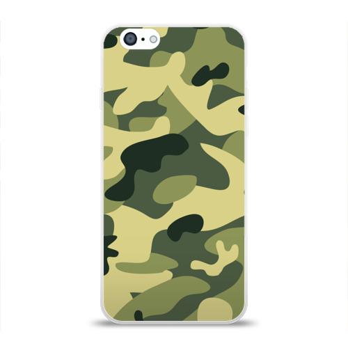 Чехол для Apple iPhone 6 силиконовый глянцевый  Фото 01, Зелёный камуфляж