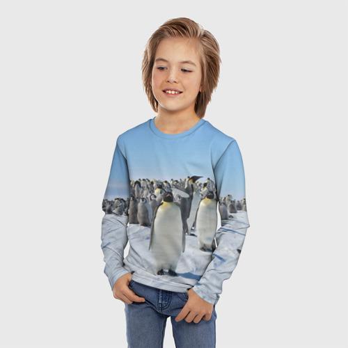 Детский лонгслив 3D Пингвины Фото 01