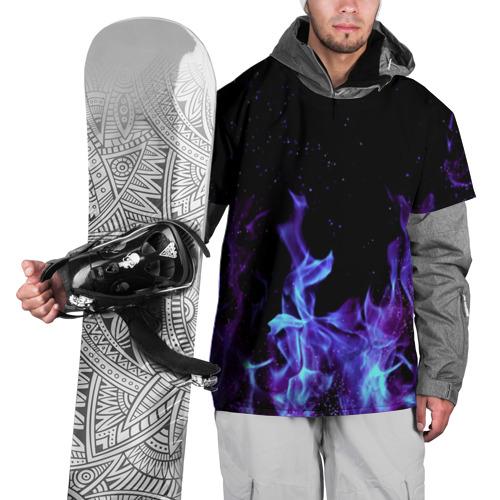 Накидка на куртку 3D  Фото 01, Синий огонь