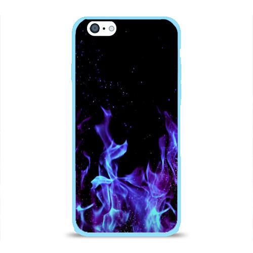 Чехол для Apple iPhone 6 силиконовый глянцевый Синий огонь Фото 01