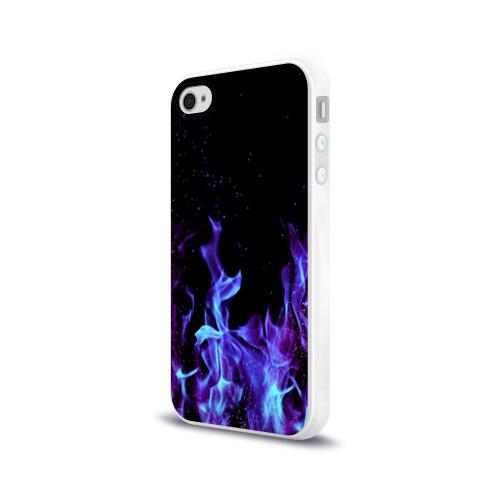 Чехол для Apple iPhone 4/4S силиконовый глянцевый Синий огонь Фото 01