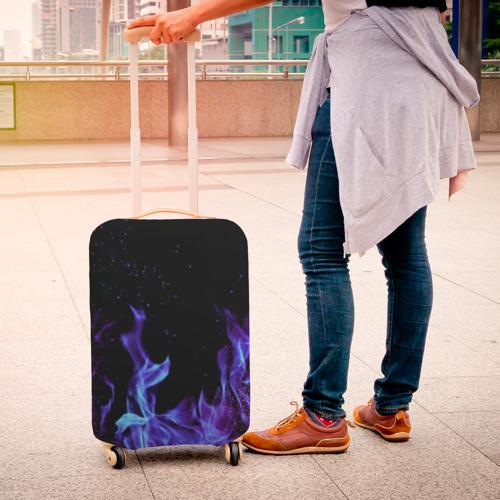 Чехол для чемодана 3D Синий огонь Фото 01