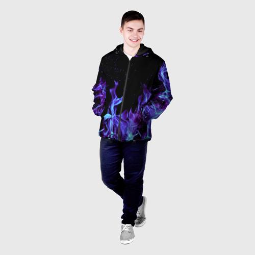 Мужская куртка 3D Синий огонь Фото 01