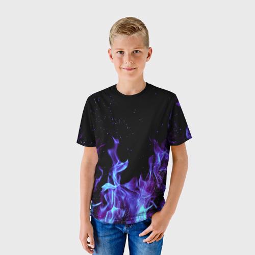 Детская футболка 3D Синий огонь