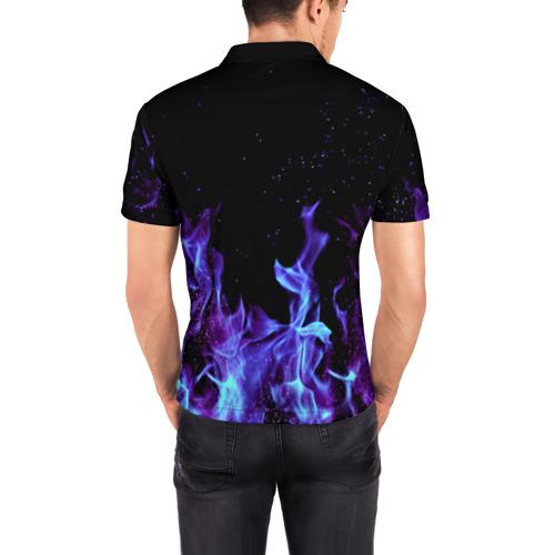 Мужская рубашка поло 3D  Фото 04, Синий огонь