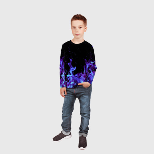 Детский лонгслив 3D Синий огонь Фото 01