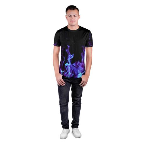 Мужская футболка 3D спортивная  Фото 04, Синий огонь