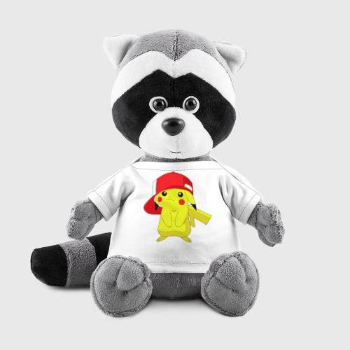 Игрушка Енотик в футболке 3D Пикачу в кепке Фото 01