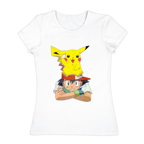 Женская футболка хлопок  Фото 01, Эш и Пикачу