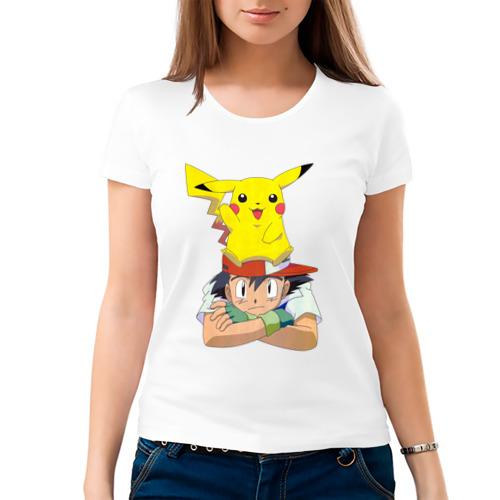 Женская футболка хлопок  Фото 03, Эш и Пикачу