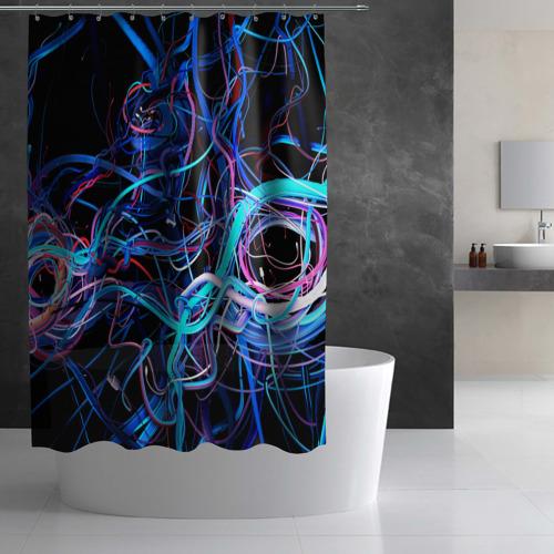 Штора 3D для ванной  Фото 03, Провода