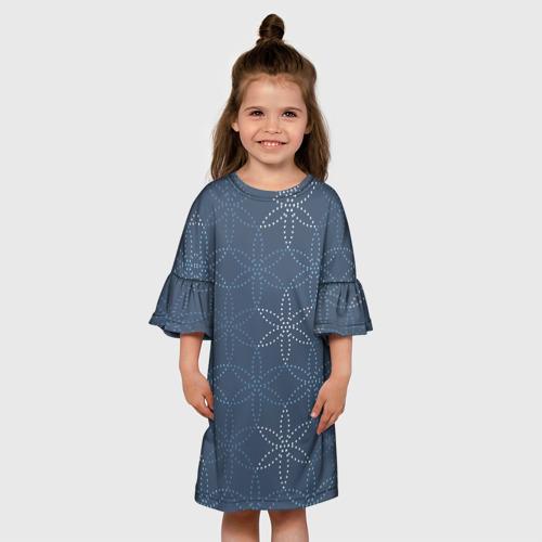 Детское платье 3D Синий паттерн с узором