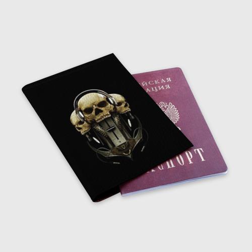 Обложка для паспорта матовая кожа DJ череп Фото 01