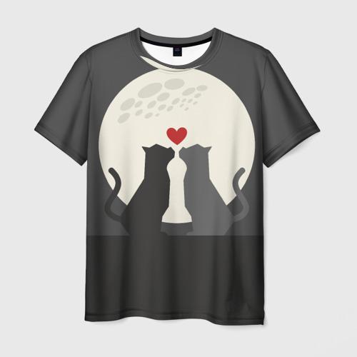 Мужская футболка 3D  Фото 03, Cats love with moon