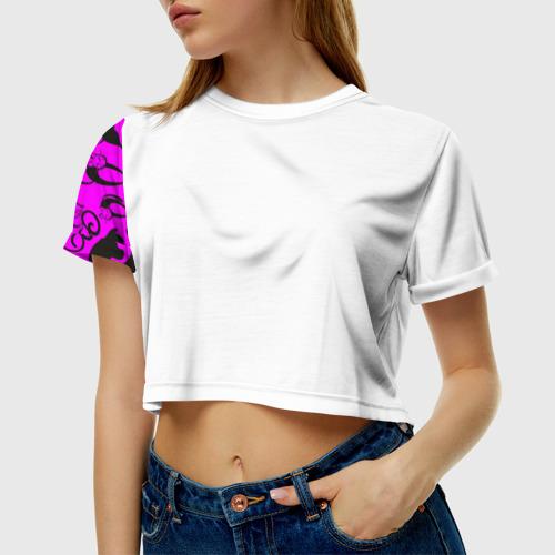 Женская футболка 3D укороченная  Фото 01, cats2
