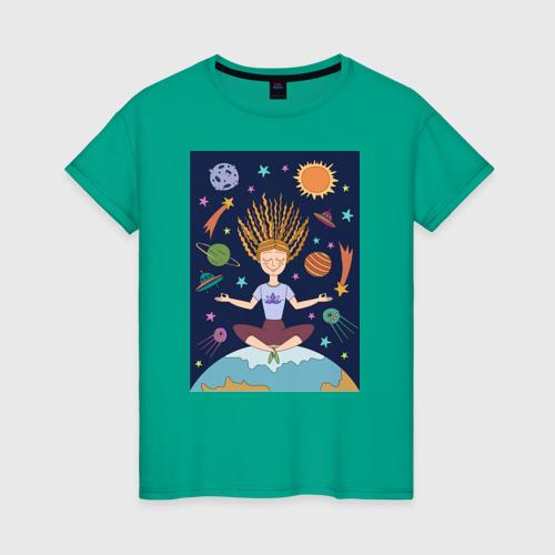 Женская футболка хлопок Йога и гармония S фото