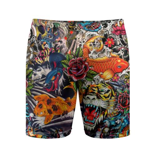 Мужские шорты 3D спортивные Dsquared tatoo