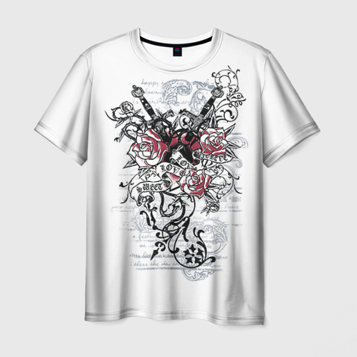 Мужская футболка 3D Рок сердца 5