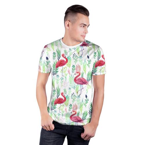 Мужская футболка 3D спортивная Цветы и бабочки 2 Фото 01