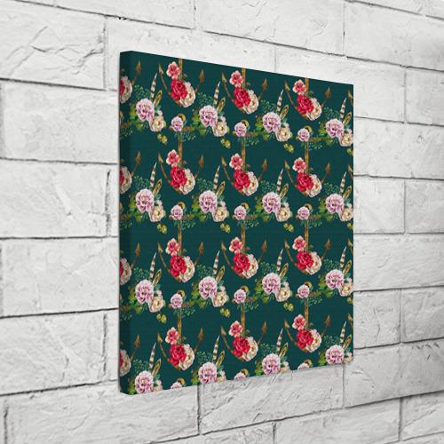 Холст квадратный  Фото 03, Цветы и бабочки 7