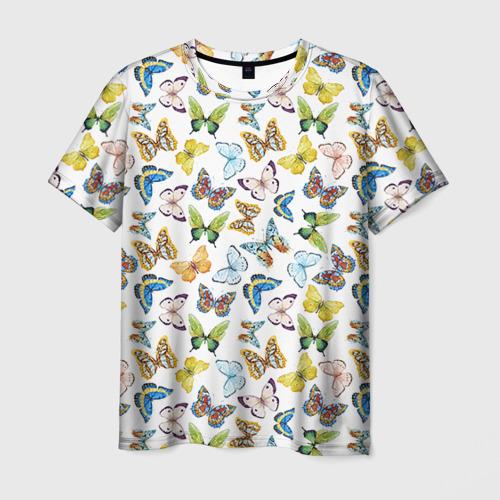 Мужская футболка 3D  Фото 03, Цветы и бабочки 11
