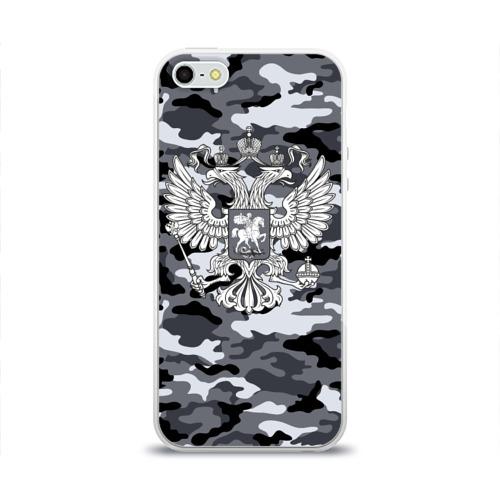 Чехол для Apple iPhone 5/5S силиконовый глянцевый  Фото 01, Городской камуфляж Россия