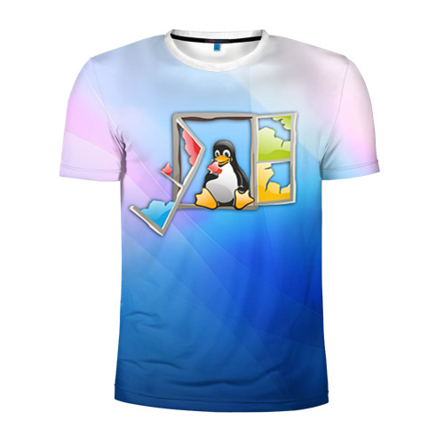 Мужская футболка 3D спортивная Linux