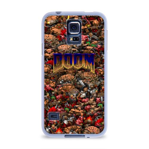 Чехол для Samsung Galaxy S5 силиконовый  Фото 01, Doom. Все монстры (pixel art)