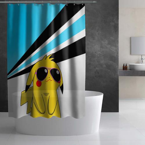 Штора 3D для ванной  Фото 03, Пикачу в очках