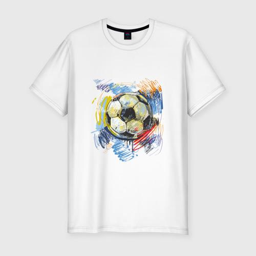 Мужская футболка премиум Рисованный футбольный мяч
