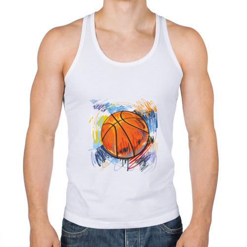 Мужская майка борцовка  Фото 01, Баскетбольный мяч в штрихах