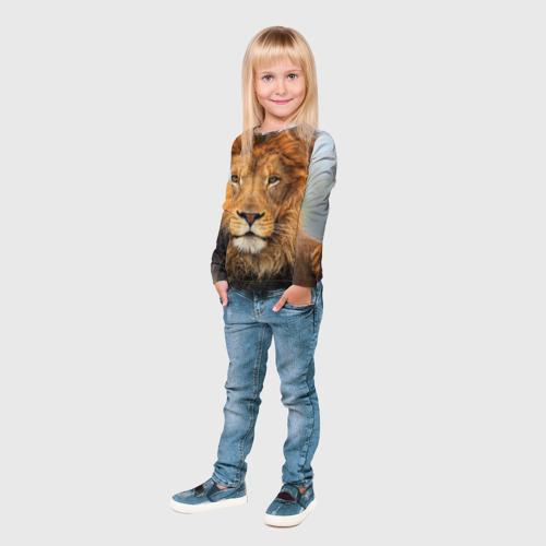 Детский лонгслив 3D Красавец лев Фото 01