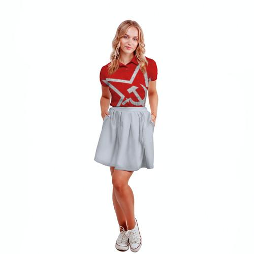 Женская рубашка поло 3D Флаг СССР: Серп и Молот Фото 01