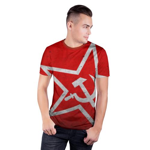 Мужская футболка 3D спортивная Флаг СССР: Серп и Молот Фото 01
