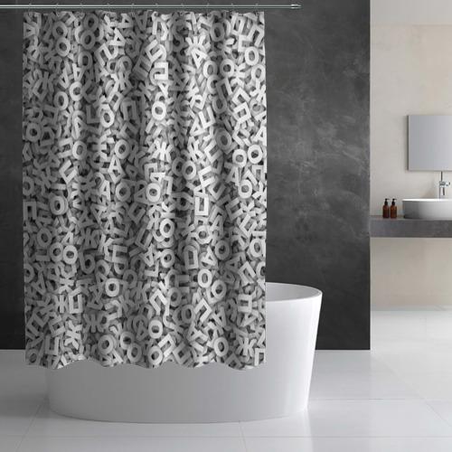Штора 3D для ванной  Фото 03, Буквы