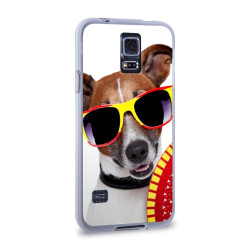 Чехол для Samsung Galaxy S5 силиконовый  Фото 02, Джек Рассел с веером
